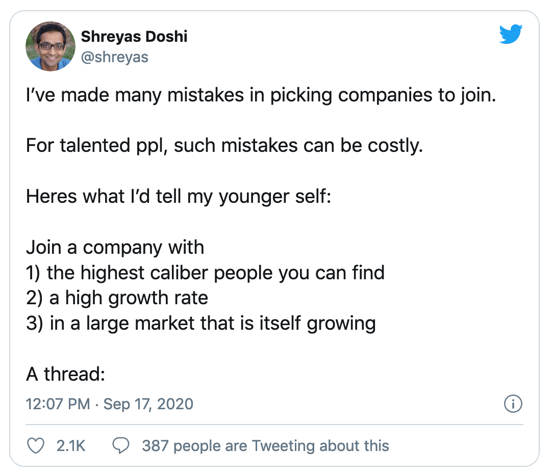 Shreyas Advice on Joining Company