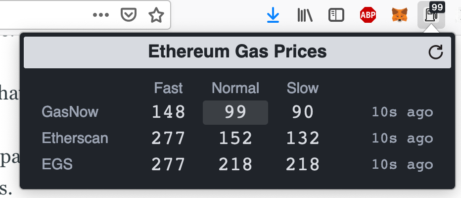 Gas browser extension