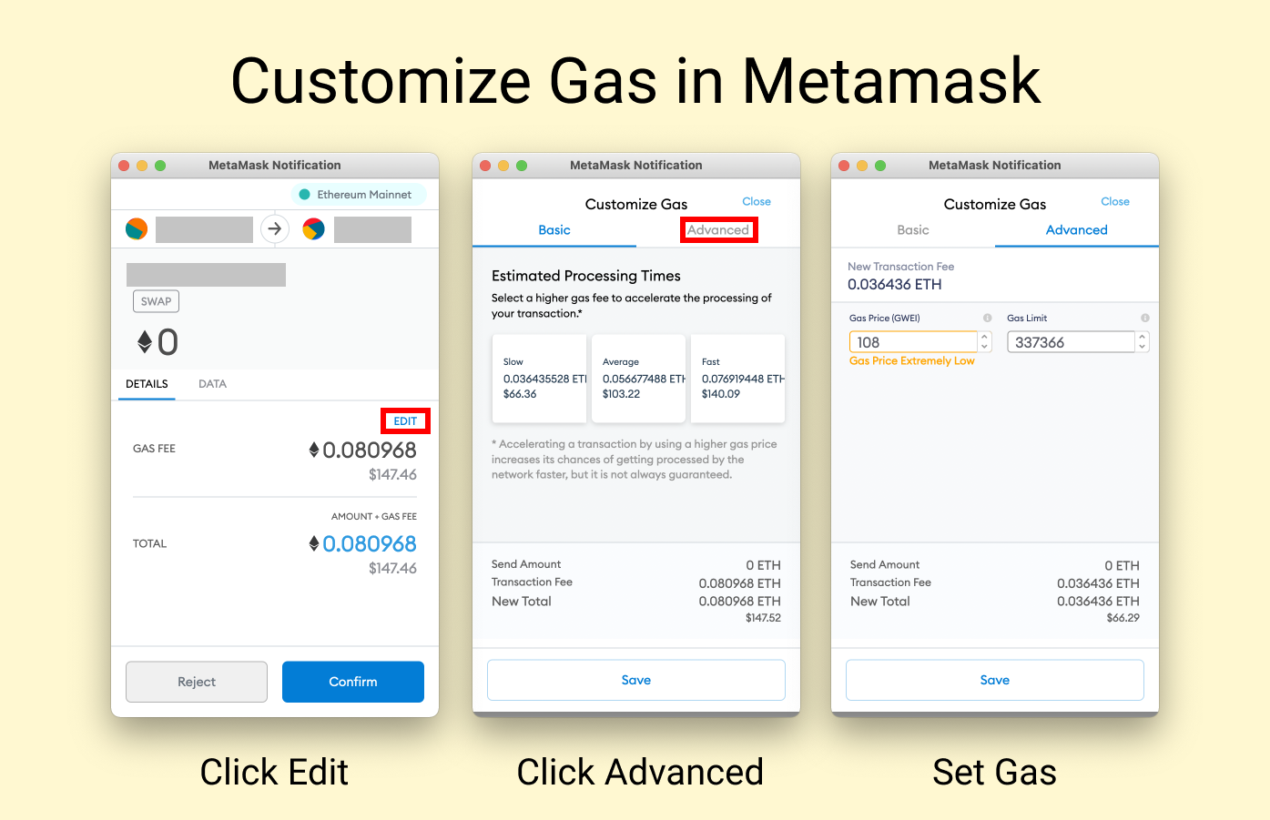 How to set your own gas price on metamask
